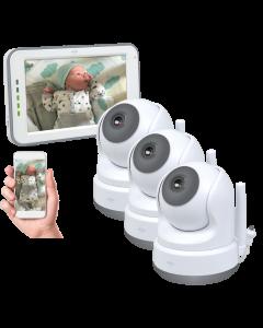 Baby Monitor Royale HD Babyfoon met 12,7 cm touchscreen en app - Met twee extra babyfoons (BC3000-3)