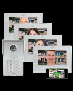 Wifi IP Video Deur Intercom – 4 Appartementen (DV477IP4)