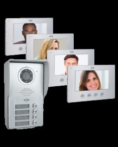 4-Familien Video Türsprechanlage mit 4x 18cm Bildschirm, gebürstetes Aluminium, verdrahtet (DV477W4)
