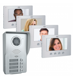 Video Deur Intercom - 4 Appartementen - Met 4 x 7 inch kleurenscherm (DV477W4)