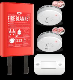 Brandpreventieset - 2x Rookmelder met 5 jaar batterij en magneetmontage - CO Melder met 10 jaar sensor - Blusdeken Hardcover 1,2m x 1,2m (FF0404)