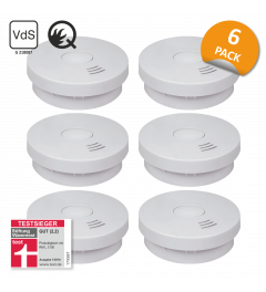Smoke detector with 10 years battery - Q-Label, VDS & StiWa test winner - 6 Pack (FS9010)