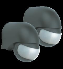 Bewegingsmelder – geschikt voor buiten- 200° - Zwart (2-pack) (LP1520)