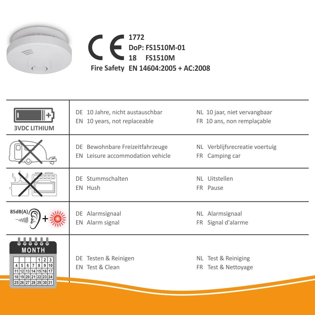 ELRO ELRO FS1510 rookmelder specificaties
